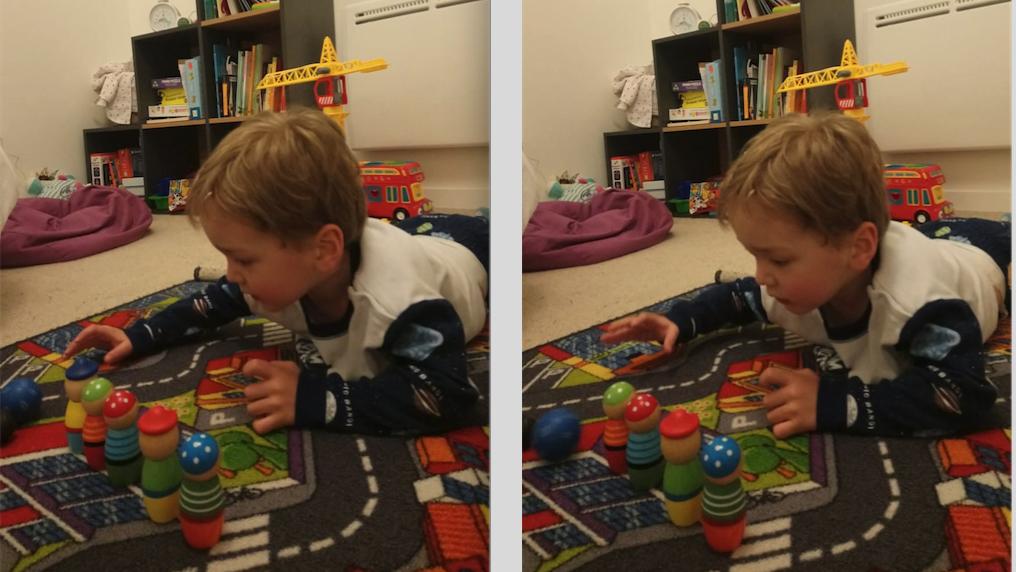 petit garçon qui joue aux quilles