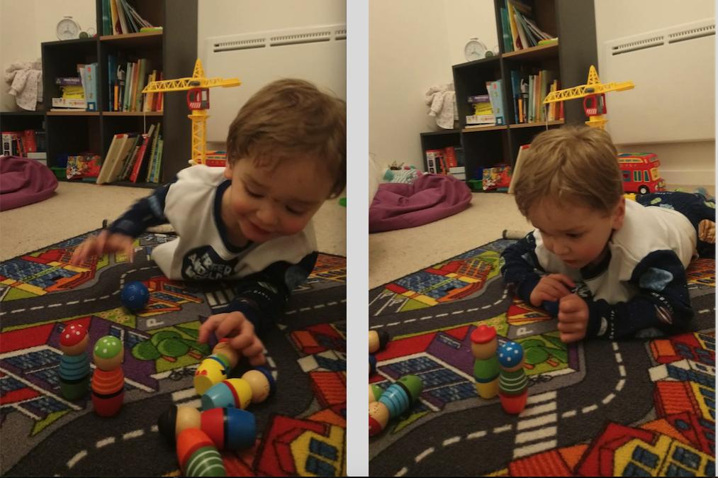enfant joue aux quilles