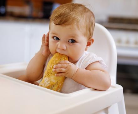 bébé qui grignotte un quignon de pain