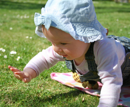 bébé rampe dans l'herbe